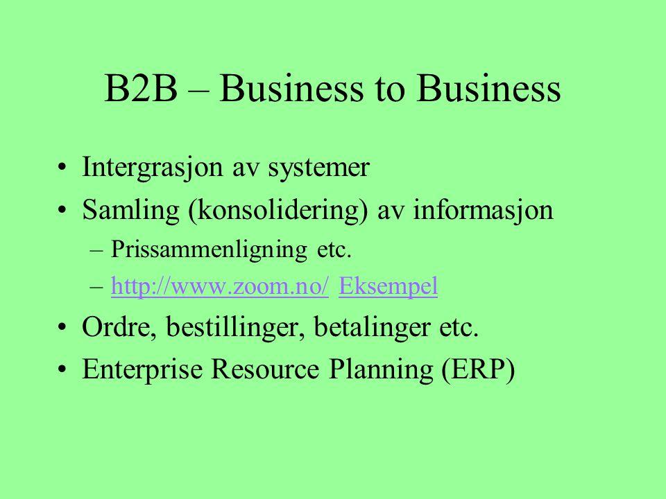 B2B – Business to Business Intergrasjon av systemer Samling (konsolidering) av informasjon –Prissammenligning etc.