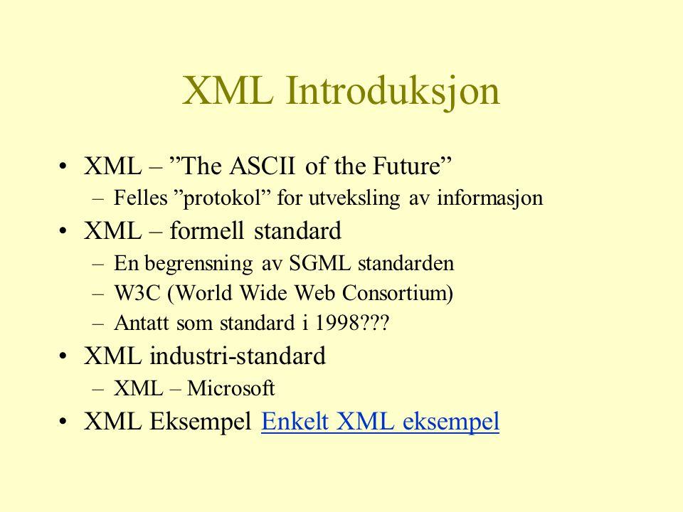 Eksempel på intergrering med XML Tracke levering av varer fra leverandører Håntere regninger fra leverandører Tracke levering til kunder Håntere betaling med banksentral (forhåpentligvis eFaktura) Alt intergrert med firmaet database(r)!