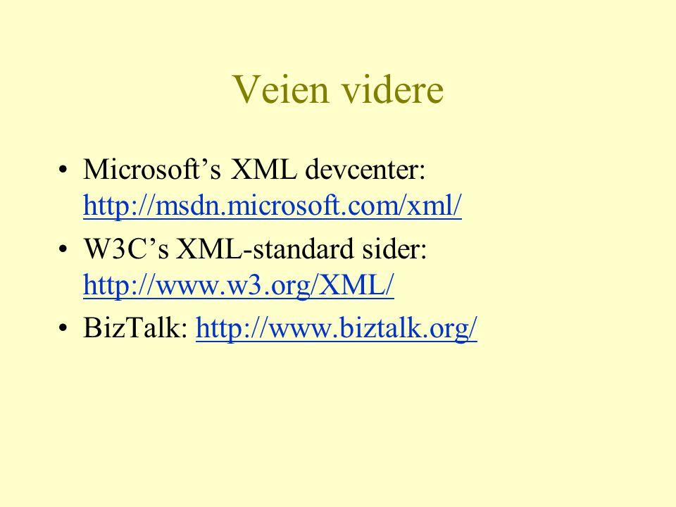 Veien videre Microsoft's XML devcenter: http://msdn.microsoft.com/xml/ http://msdn.microsoft.com/xml/ W3C's XML-standard sider: http://www.w3.org/XML/ http://www.w3.org/XML/ BizTalk: http://www.biztalk.org/http://www.biztalk.org/