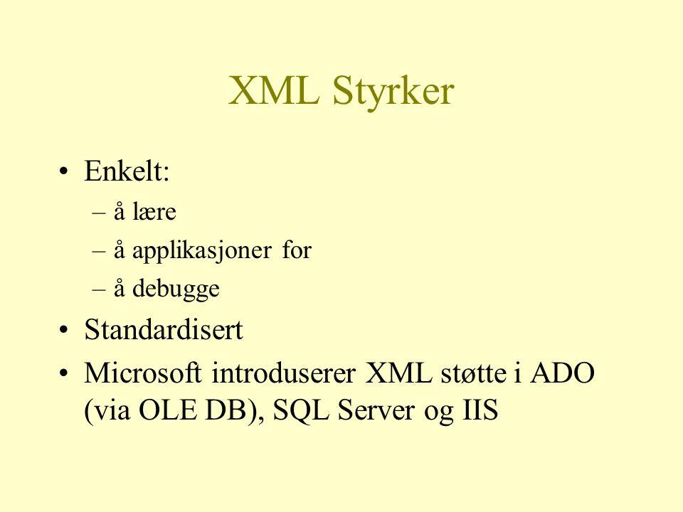 XML Styrker Enkelt: –å lære –å applikasjoner for –å debugge Standardisert Microsoft introduserer XML støtte i ADO (via OLE DB), SQL Server og IIS