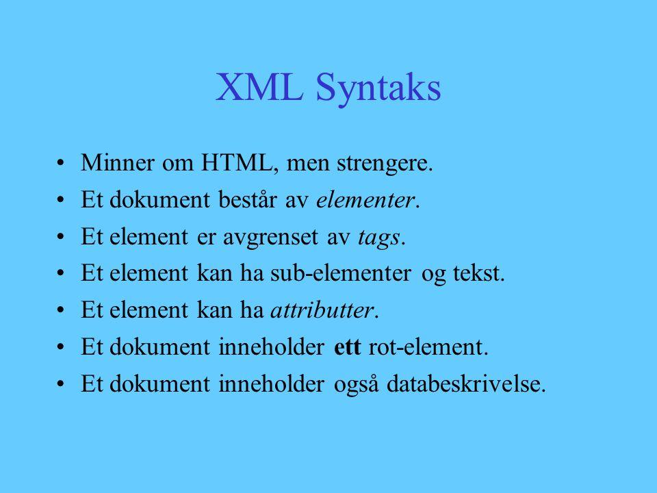 XML Syntaks - Begrensninger Elementer må være strengt nestede – Hello world, all Alle tags må lukkes – First list item Second list item Tomme tags kan skrives slik: Spesielle tegn kan skrives slik: < Alle attributter må være i anførseltegn – Accept
