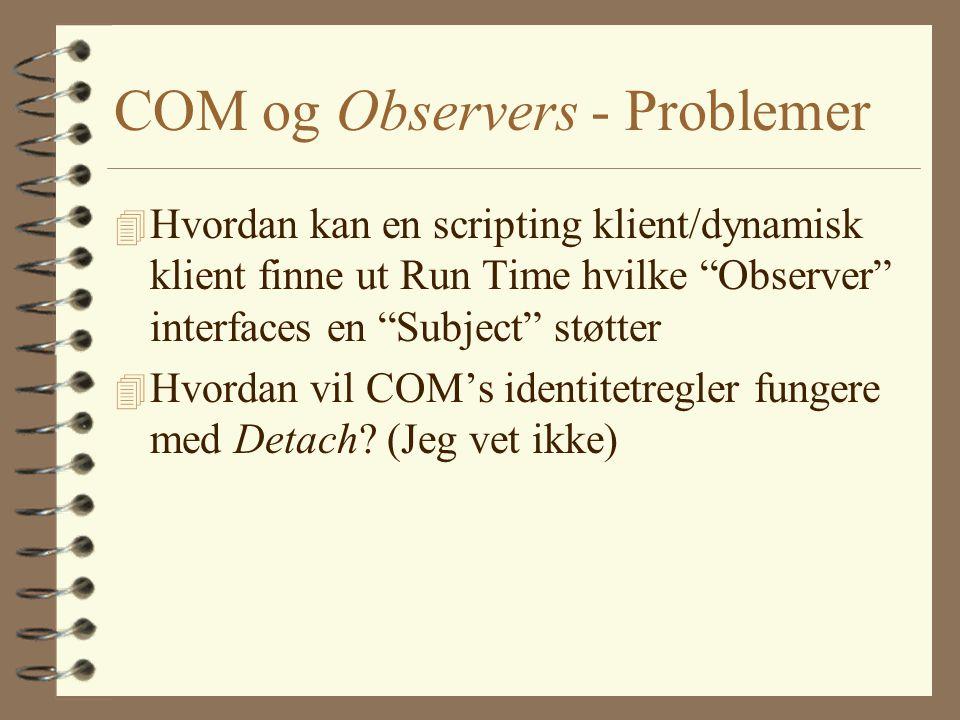 COM og Observers - Problemer 4 Hvordan kan en scripting klient/dynamisk klient finne ut Run Time hvilke Observer interfaces en Subject støtter 4 Hvordan vil COM's identitetregler fungere med Detach.