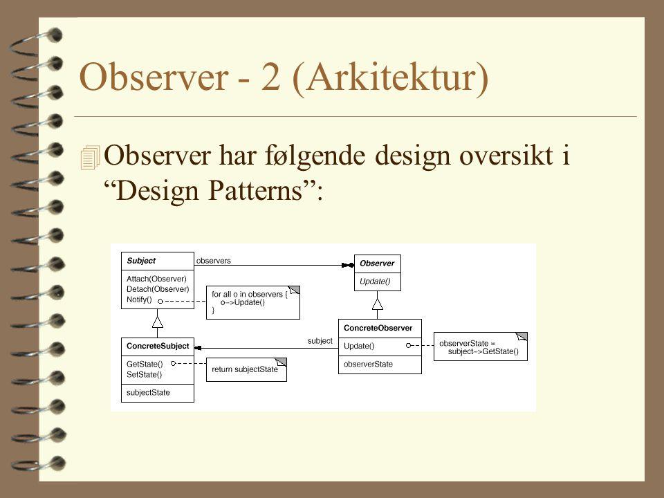 Observer - 2 (Arkitektur) 4 Observer har følgende design oversikt i Design Patterns :