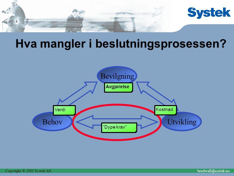 """Copyright © 2003 Systek ASbrodwall@systek.no Hva mangler i beslutningsprosessen? Bevilgning BehovUtvikling Verdi Kostnad Avgjørelse """"Dype krav"""""""