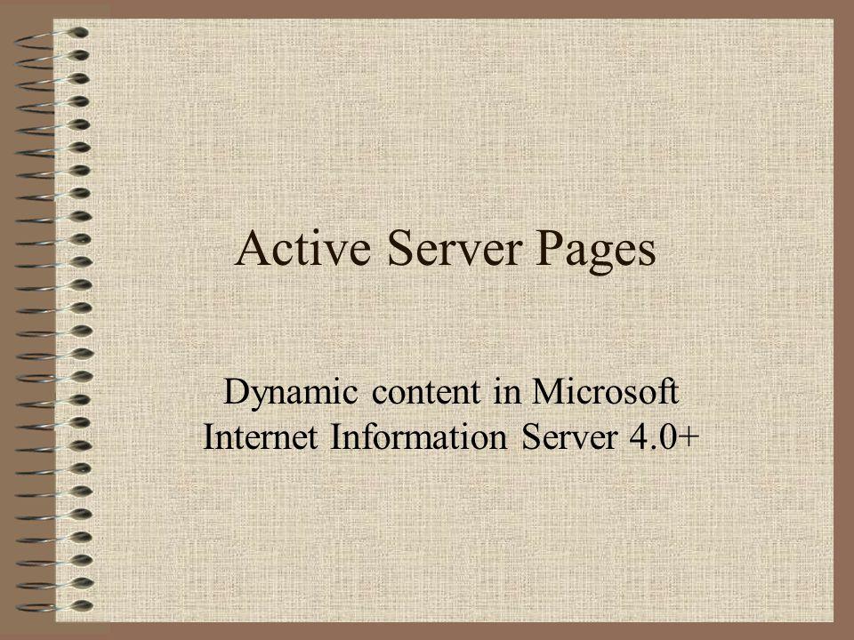 COM Server.CreateObject brukes til å lage et (Inprocess) COM objekt på serveren COM Objektet kan aksesseres som fra ethvert script Legg merke til at Scriptet har fulle rettigheter, det regnes ikke som et utrygt script I JScript bruker vi en Enumerator for å gå gjennom en collection http://gnats/asp-sample/07ado.asp