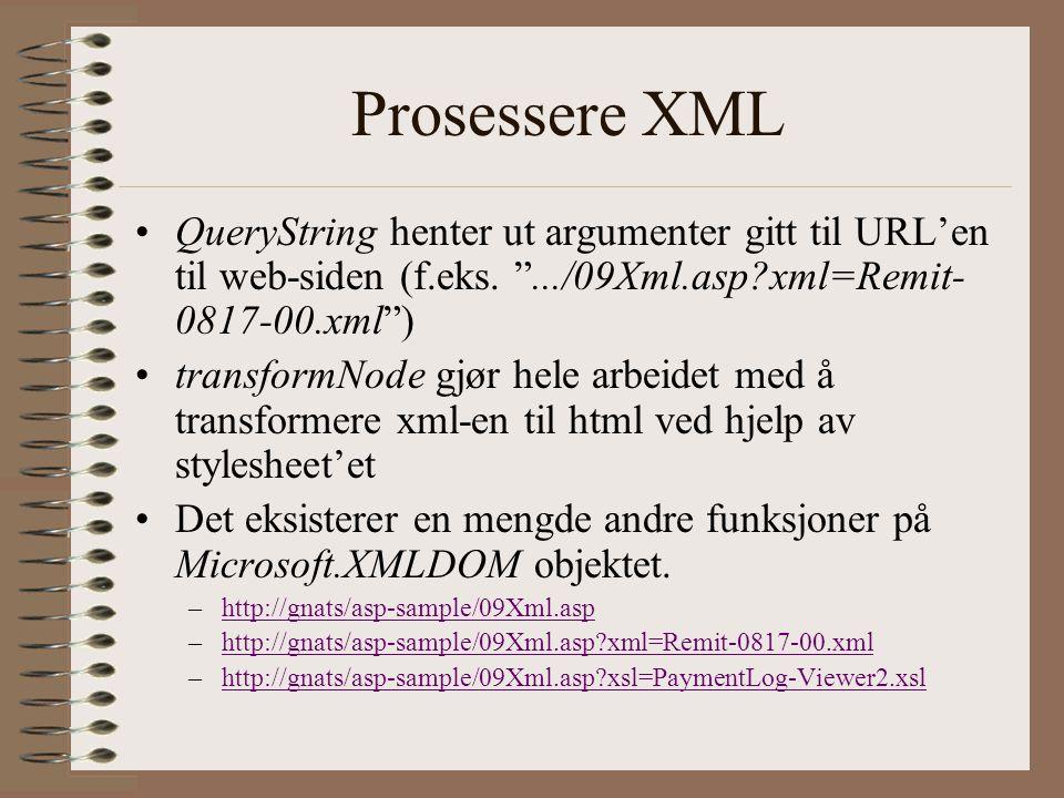 Prosessere XML QueryString henter ut argumenter gitt til URL'en til web-siden (f.eks.