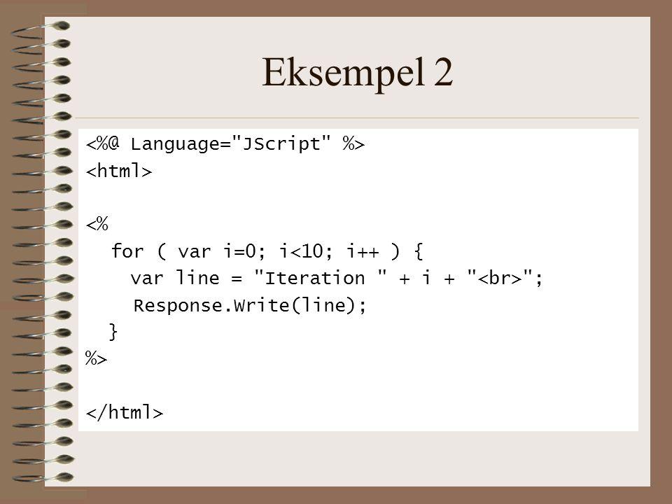 Eksempel 2 <% for ( var i=0; i<10; i++ ) { var line = Iteration + i + ; Response.Write(line); } %>