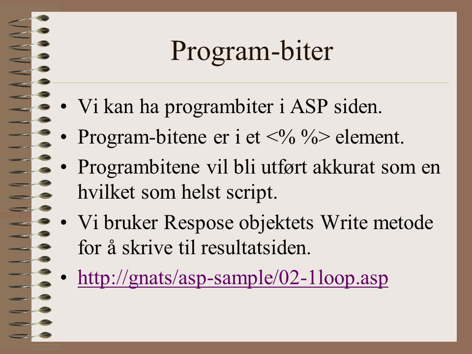 Program-biter Vi kan ha programbiter i ASP siden. Program-bitene er i et element.