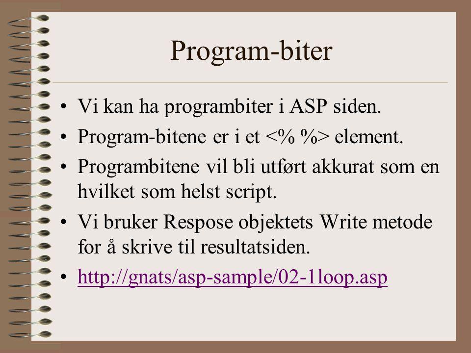 Program-biter Vi kan ha programbiter i ASP siden.Program-bitene er i et element.