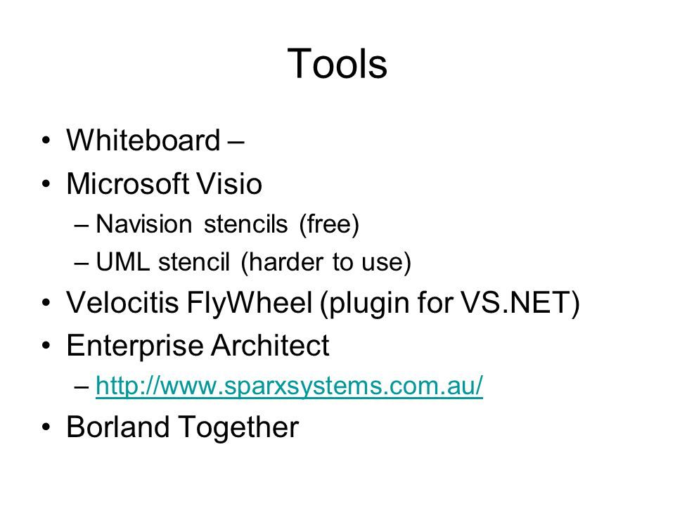 Tools Whiteboard – Microsoft Visio –Navision stencils (free) –UML stencil (harder to use) Velocitis FlyWheel (plugin for VS.NET) Enterprise Architect