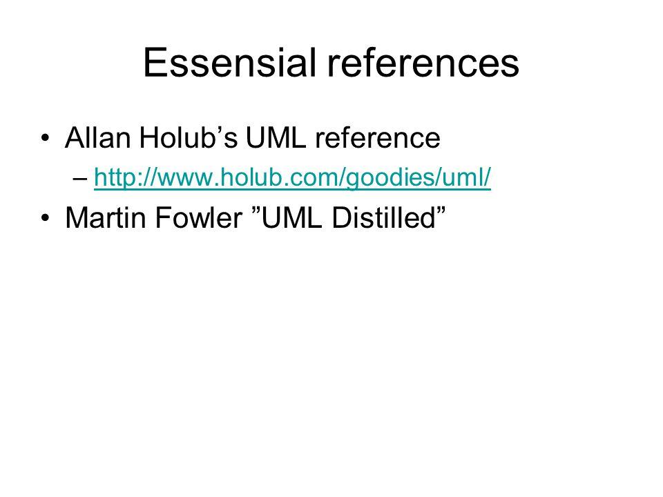 Essensial references Allan Holub's UML reference –http://www.holub.com/goodies/uml/http://www.holub.com/goodies/uml/ Martin Fowler UML Distilled