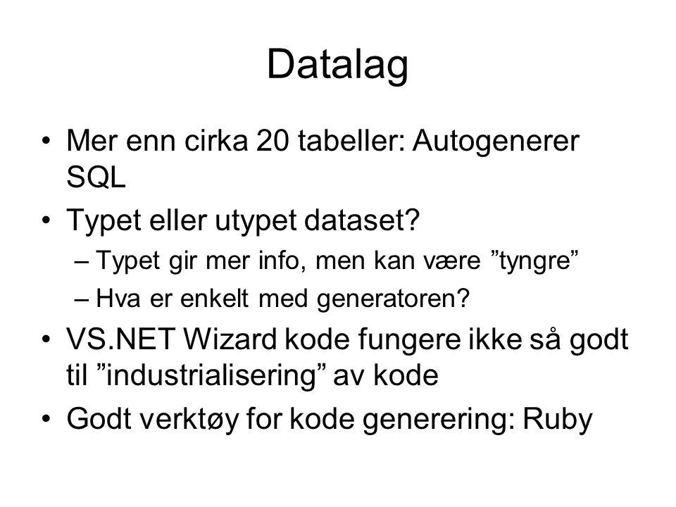 Datalag Mer enn cirka 20 tabeller: Autogenerer SQL Typet eller utypet dataset.