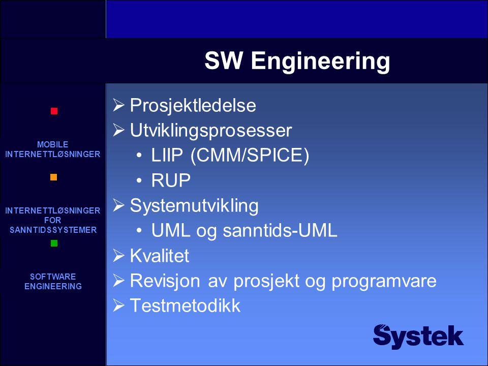 MOBILE INTERNETTLØSNINGER INTERNETTLØSNINGER FOR SANNTIDSSYSTEMER SOFTWARE ENGINEERING SW Engineering  Prosjektledelse  Utviklingsprosesser LIIP (CMM/SPICE) RUP  Systemutvikling UML og sanntids-UML  Kvalitet  Revisjon av prosjekt og programvare  Testmetodikk