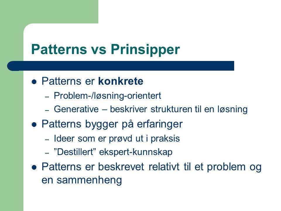 Patterns vs Prinsipper Patterns er konkrete – Problem-/løsning-orientert – Generative – beskriver strukturen til en løsning Patterns bygger på erfarin