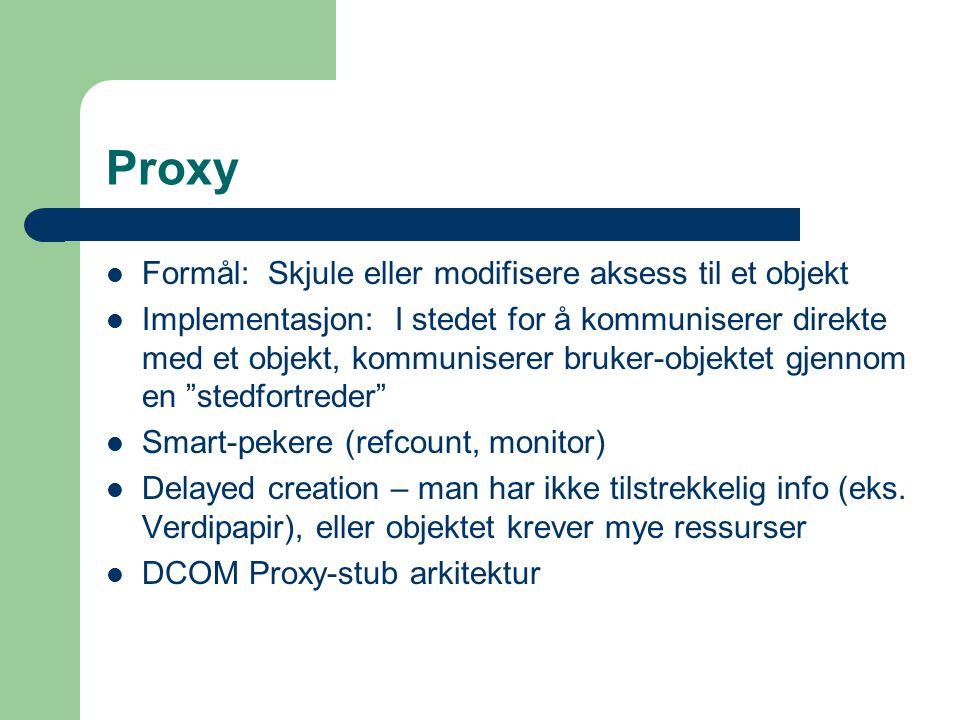 Proxy Formål: Skjule eller modifisere aksess til et objekt Implementasjon: I stedet for å kommuniserer direkte med et objekt, kommuniserer bruker-obje