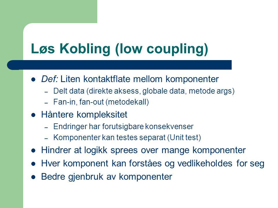 Løs Kobling (low coupling) Def: Liten kontaktflate mellom komponenter – Delt data (direkte aksess, globale data, metode args) – Fan-in, fan-out (metod