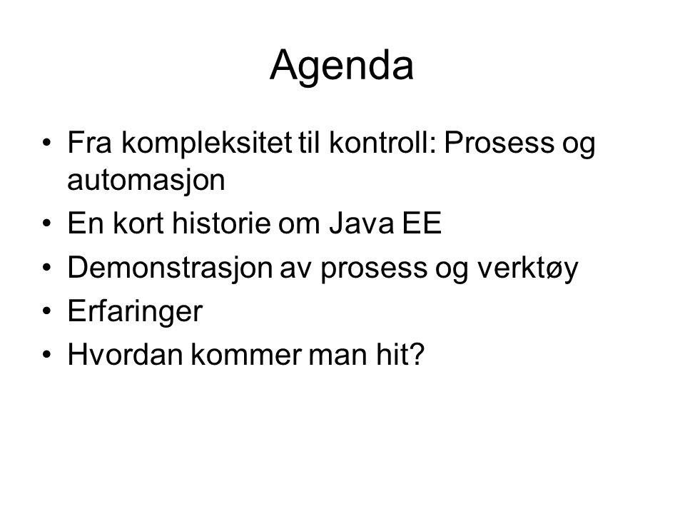 Agenda Fra kompleksitet til kontroll: Prosess og automasjon En kort historie om Java EE Demonstrasjon av prosess og verktøy Erfaringer Hvordan kommer man hit