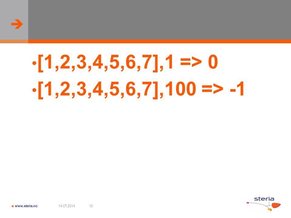   www.steria.no 14.07.201410 [1,2,3,4,5,6,7],1 => 0 [1,2,3,4,5,6,7],100 => -1