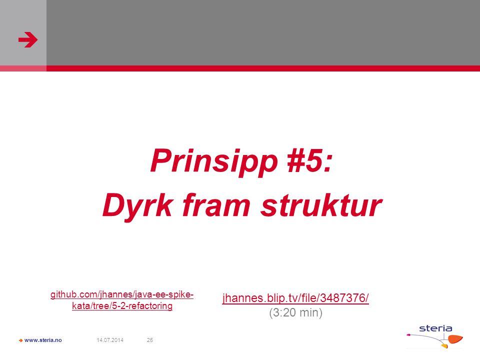   www.steria.no 14.07.201425 Prinsipp #5: Dyrk fram struktur jhannes.blip.tv/file/3487376/ (3:20 min) github.com/jhannes/java-ee-spike- kata/tree/5-2-refactoring