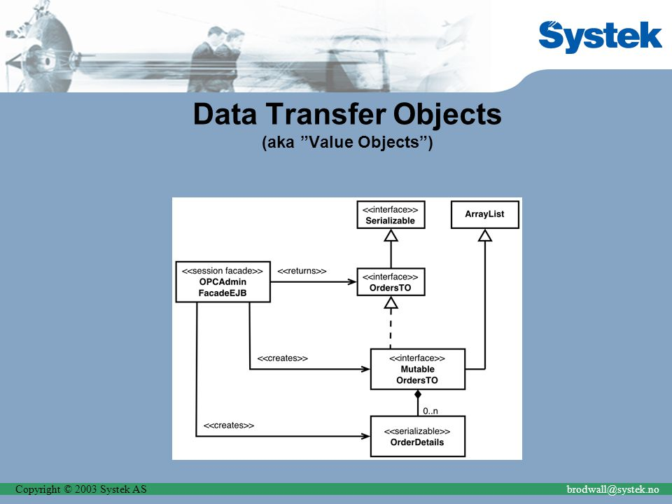 Copyright © 2003 Systek ASbrodwall@systek.no Data Transfer Objects (aka Value Objects )