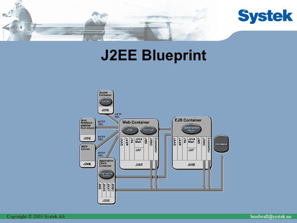 Copyright © 2003 Systek ASbrodwall@systek.no J2EE Blueprint