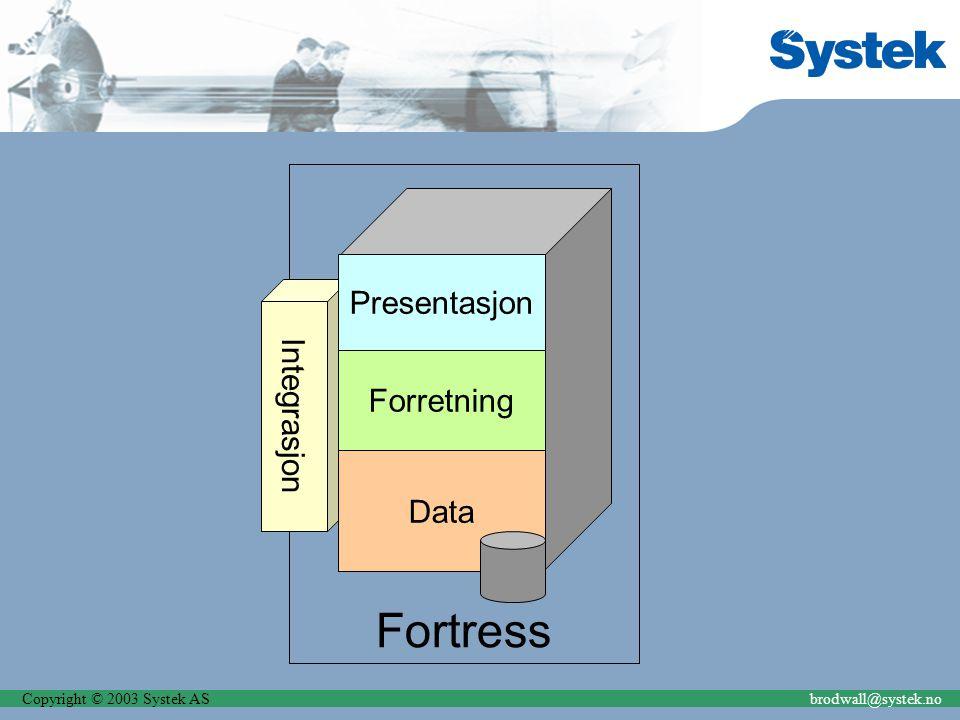 Copyright © 2003 Systek ASbrodwall@systek.no Fortress Integrasjon Presentasjon Forretning Data