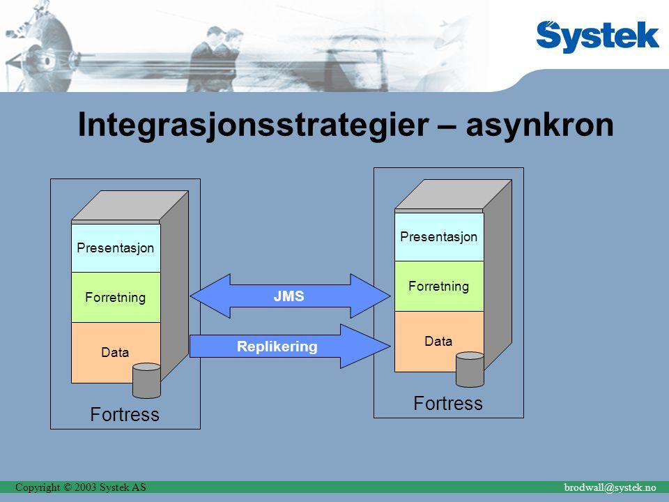 Copyright © 2003 Systek ASbrodwall@systek.no Integrasjonsstrategier – asynkron Fortress Presentasjon Forretning Data Fortress Presentasjon Forretning Data JMS Replikering