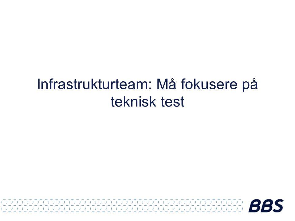 Infrastrukturteam: Må fokusere på teknisk test