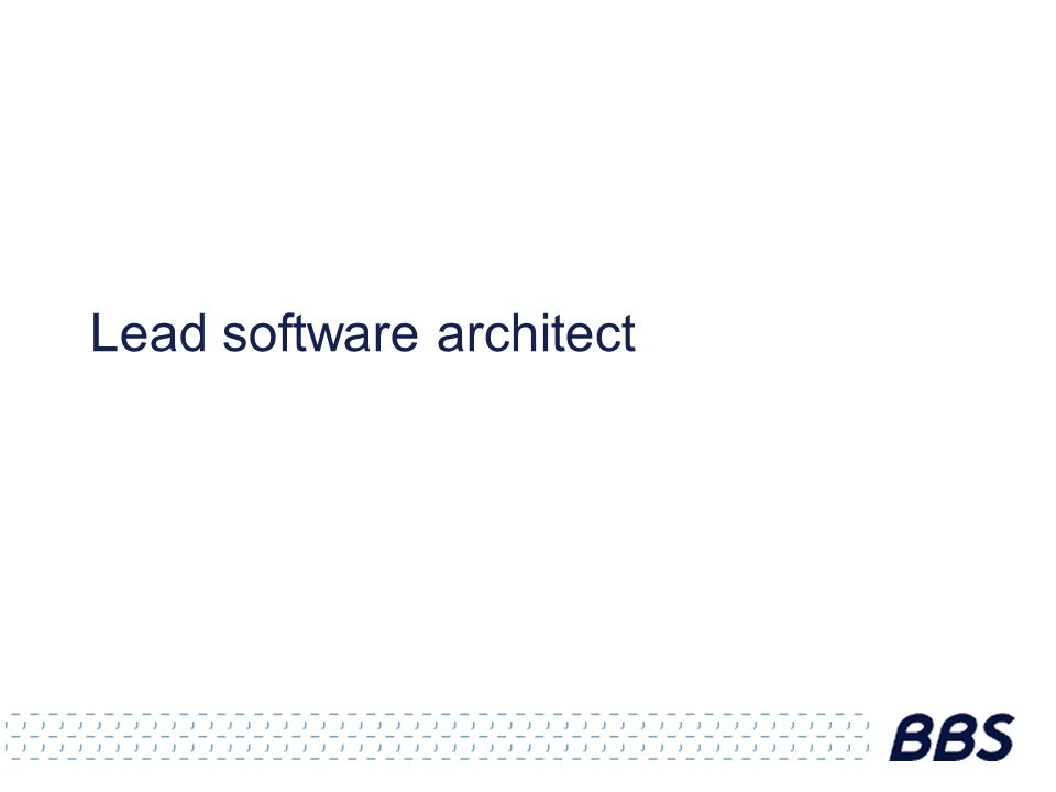 Lead software architect
