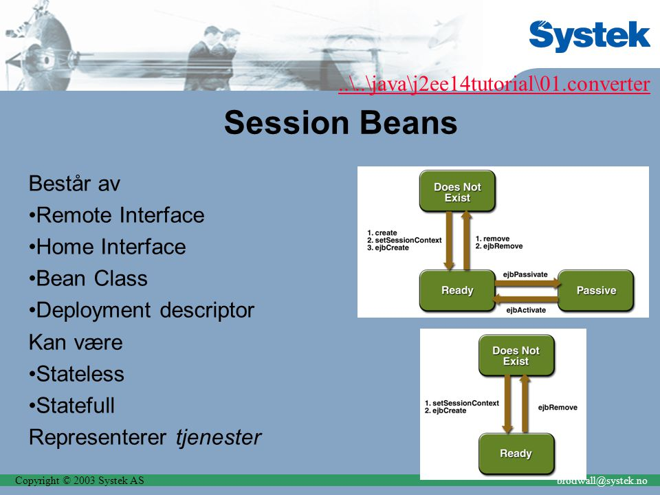 Copyright © 2003 Systek ASbrodwall@systek.no Session Beans Består av Remote Interface Home Interface Bean Class Deployment descriptor Kan være Stateless Statefull Representerer tjenester..\..\java\j2ee14tutorial\01.converter