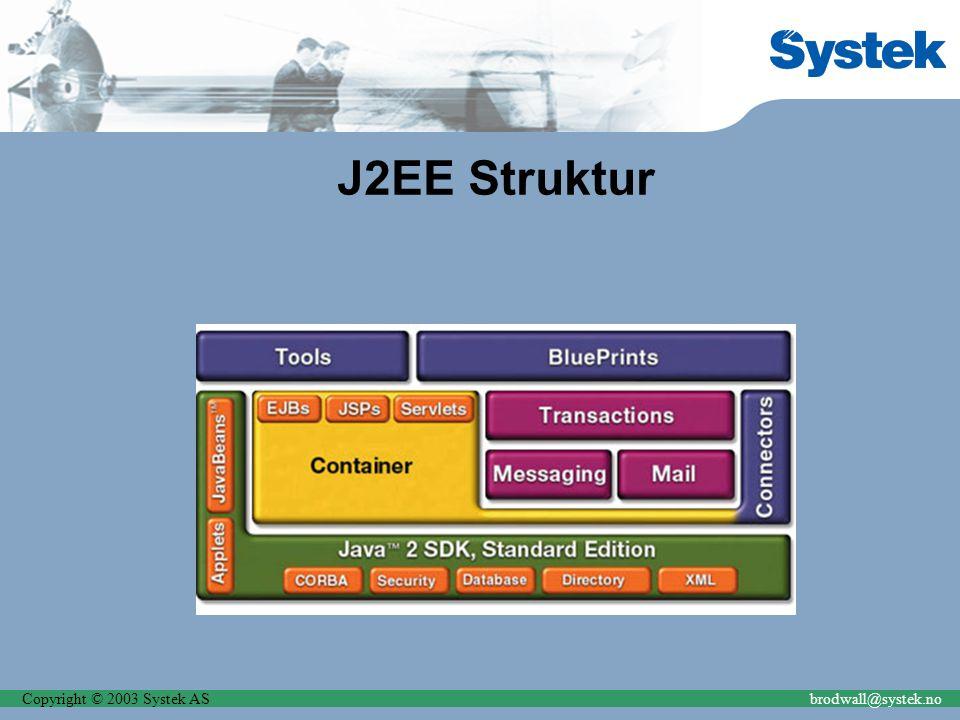 Copyright © 2003 Systek ASbrodwall@systek.no J2EE Struktur