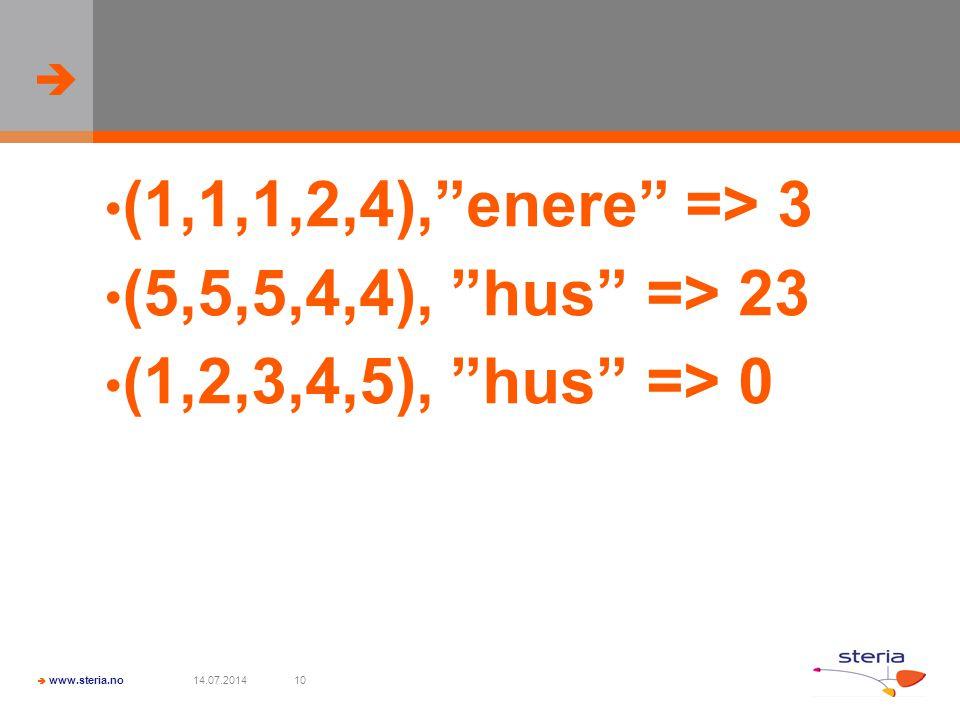   www.steria.no 14.07.201410 (1,1,1,2,4), enere => 3 (5,5,5,4,4), hus => 23 (1,2,3,4,5), hus => 0