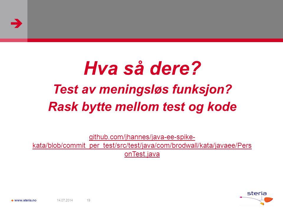   www.steria.no 14.07.201419 Hva så dere. Test av meningsløs funksjon.