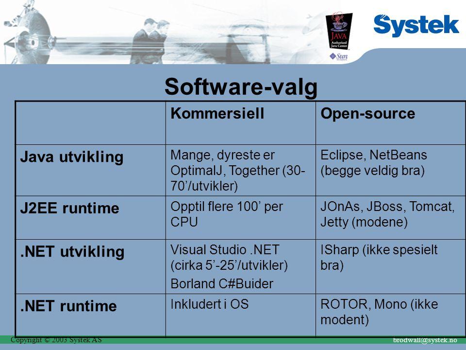 Copyright © 2003 Systek ASbrodwall@systek.no Software-valg KommersiellOpen-source Java utvikling Mange, dyreste er OptimalJ, Together (30- 70'/utvikle