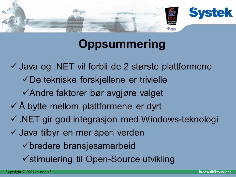 Copyright © 2003 Systek ASbrodwall@systek.no Oppsummering Java og.NET vil forbli de 2 største plattformene De tekniske forskjellene er trivielle Andre