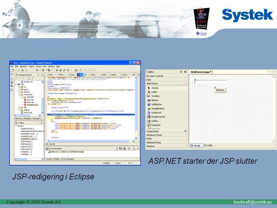 Copyright © 2003 Systek ASbrodwall@systek.no Kostnad Opplæring Produktivitet Tilgang til utviklere Kommunikasjon Runtime-lisenser Utviklingslisenser Verktøy, tilgjengelighet og lisensieringsmodeller Hardware-kostnader Forsikringskostnad – vi tør ikke bytte