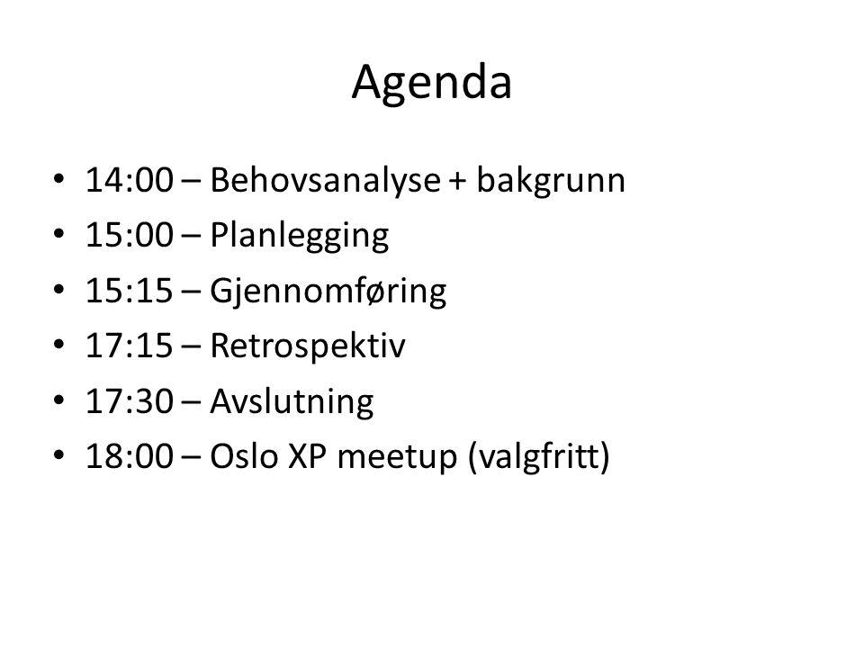 Agenda 14:00 – Behovsanalyse + bakgrunn 15:00 – Planlegging 15:15 – Gjennomføring 17:15 – Retrospektiv 17:30 – Avslutning 18:00 – Oslo XP meetup (valgfritt)