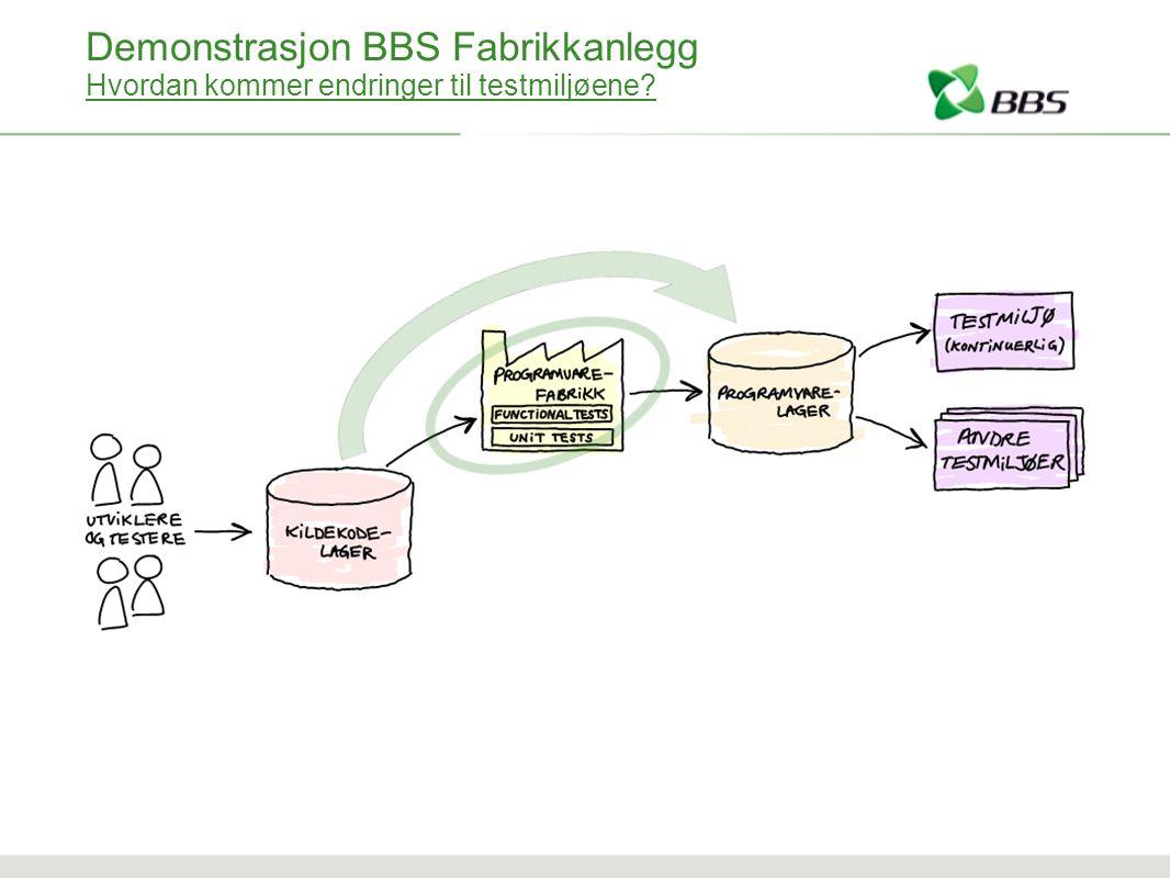 Demonstrasjon BBS Fabrikkanlegg Hvordan kommer endringer til testmiljøene?
