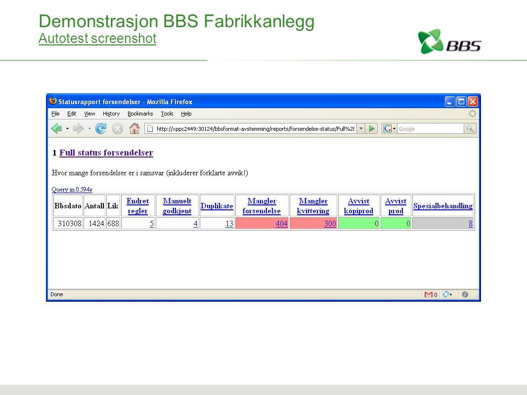 Demonstrasjon BBS Fabrikkanlegg Autotest screenshot