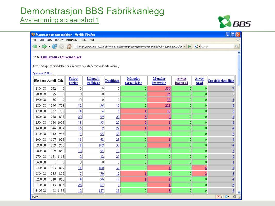 Demonstrasjon BBS Fabrikkanlegg Avstemming screenshot 1