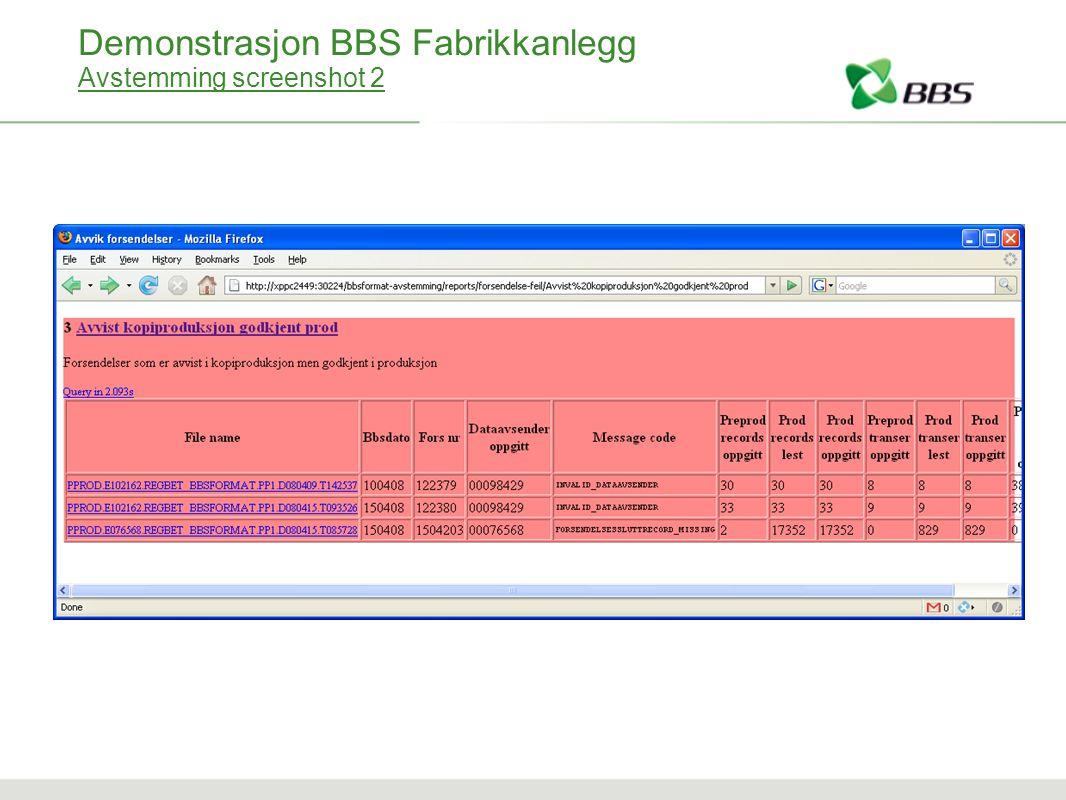 Demonstrasjon BBS Fabrikkanlegg Avstemming screenshot 2