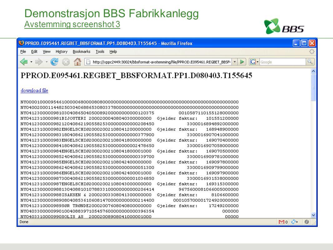 Demonstrasjon BBS Fabrikkanlegg Avstemming screenshot 3