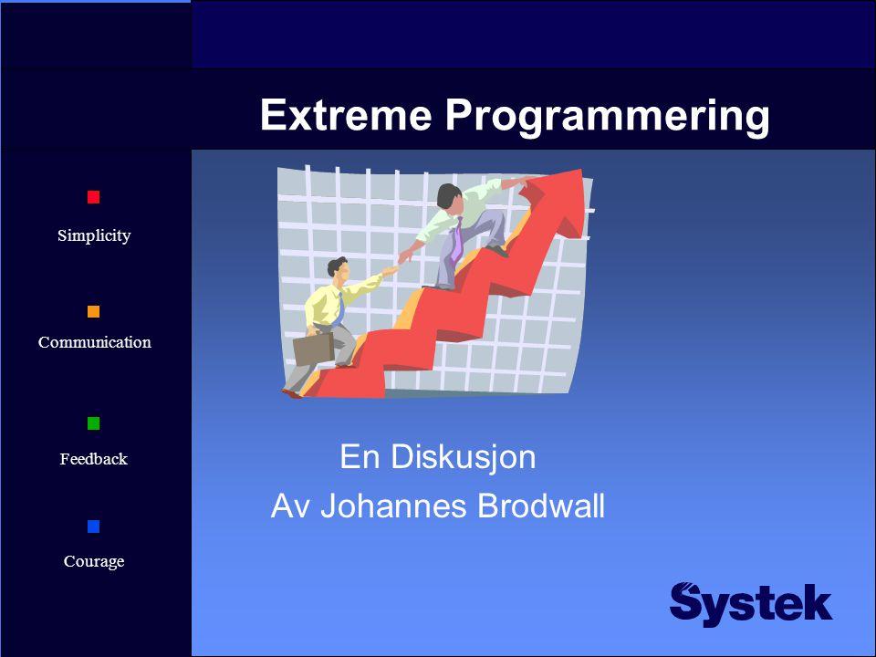 Simplicity Communication Feedback Courage Extreme Programmering En Diskusjon Av Johannes Brodwall