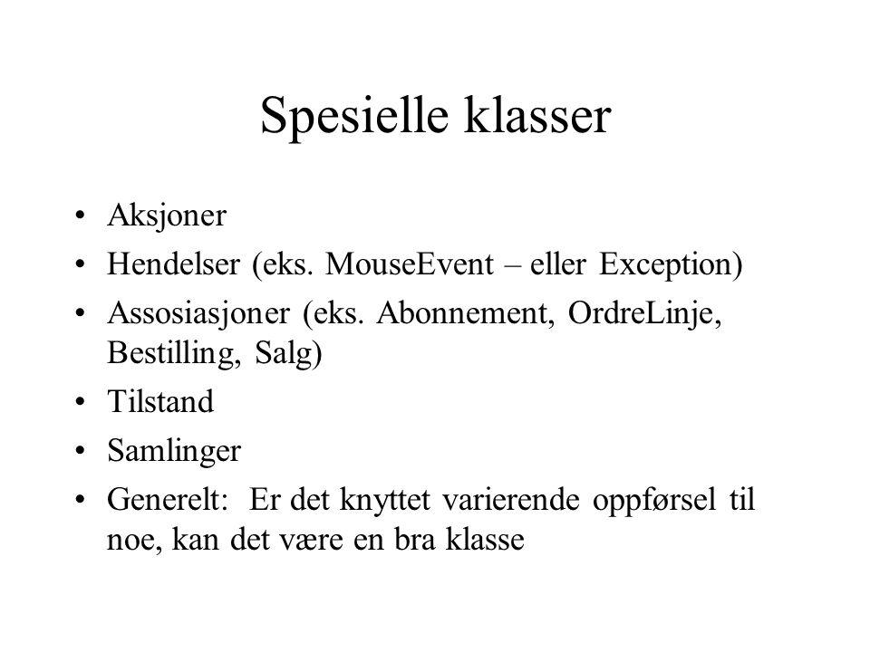 Spesielle klasser Aksjoner Hendelser (eks.MouseEvent – eller Exception) Assosiasjoner (eks.