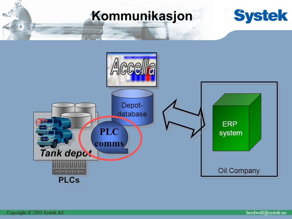 Copyright © 2003 Systek ASbrodwall@systek.no Kommunikasjon Depot- database Depot- database ERP system Oil Company Tank depot PLC comms PLC comms