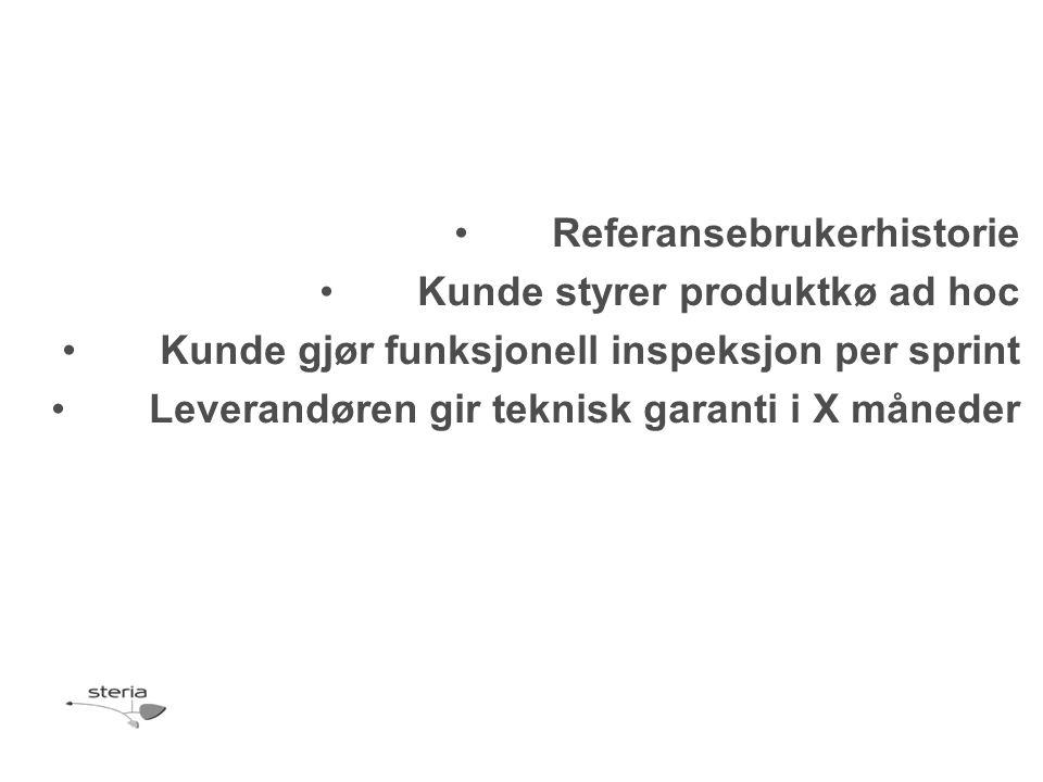 Referansebrukerhistorie Kunde styrer produktkø ad hoc Kunde gjør funksjonell inspeksjon per sprint Leverandøren gir teknisk garanti i X måneder