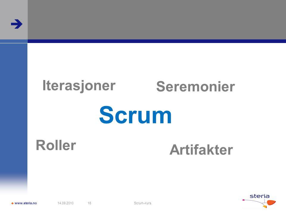  www.steria.no  14.09.2010 Scrum-kurs 16 Scrum Iterasjoner Seremonier Roller Artifakter