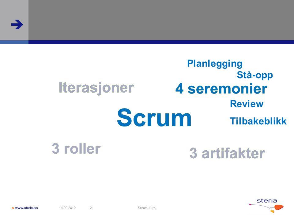  www.steria.no  14.09.2010 Scrum-kurs 21 Scrum Iterasjoner 4 seremonier 3 roller 3 artifakter Planlegging Stå-opp Review Tilbakeblikk Iterasjoner 4