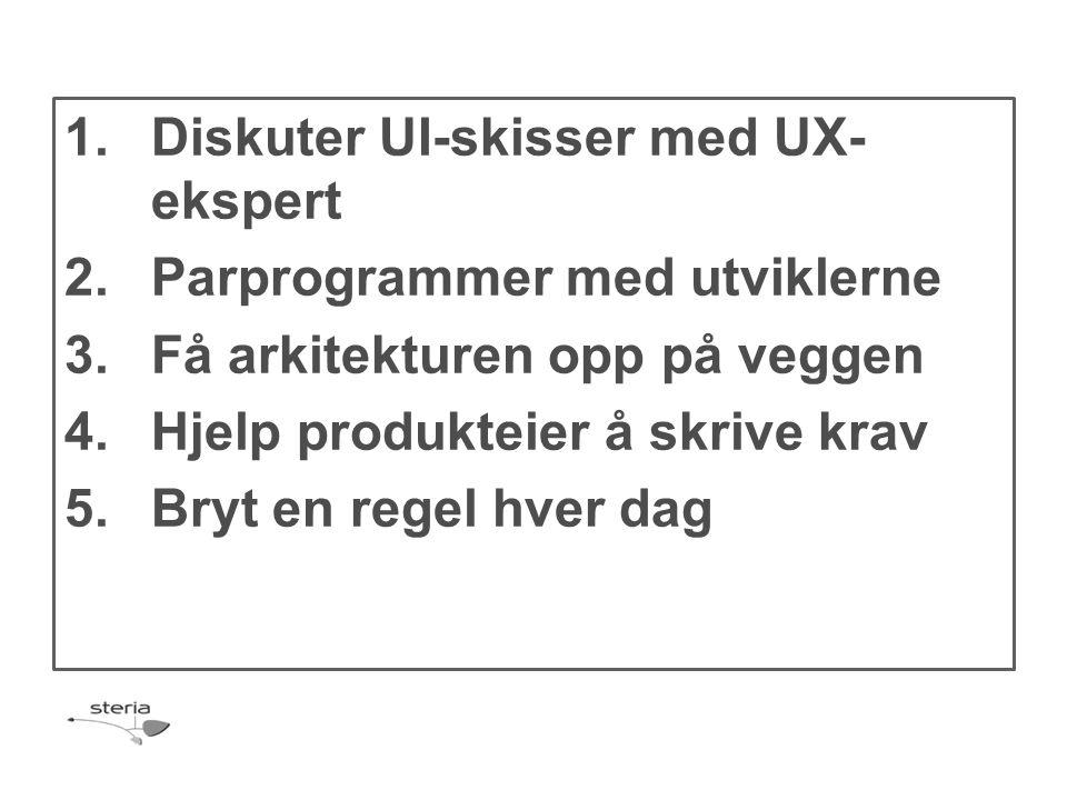 1.Diskuter UI-skisser med UX- ekspert 2.Parprogrammer med utviklerne 3.Få arkitekturen opp på veggen 4.Hjelp produkteier å skrive krav 5.Bryt en regel