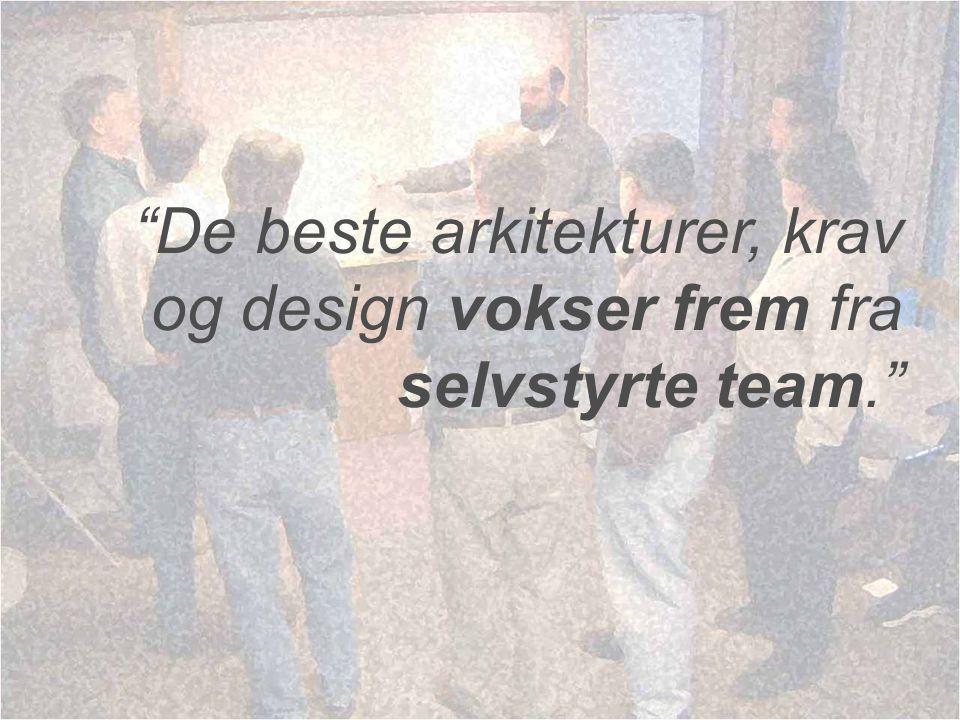 """De beste arkitekturer, krav og design vokser frem fra selvstyrte team."""